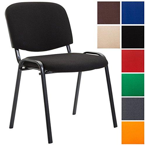 CLP Konferenzstuhl KEN V2 mit Stoffbezug und hochwertiger Sitzpolsterung | Robuster und stapelbarer Besucherstuhl | In verschiedenen Farben erhältlich Schwarz