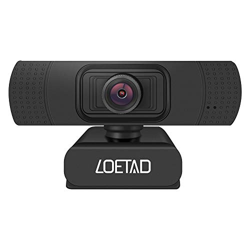 LOETAD Webcam, 1080P Full HD PC Kamera mit Stereo Mikrofon USB für Video Chat Streaming Kompatibel mit Windows Mac OS Android Linus