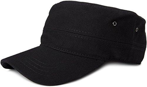 styleBREAKER Cap im Military-Stil aus robustem Baumwollcanvas (Schwarz)