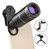 Xinxie1 Handy-Kamera-Objektiv-Kit + Telefon-Stativ-Metall-16X-Telezoom-Objektiv/Weitwinkel/Makro/Fischauge/Kaleidoskop/CPL für Smartphone