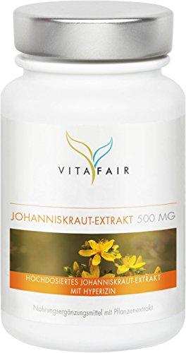 Johanniskraut Extrakt | 500mg pro Tagesdosis | 100 Kapseln | 0,3% Hyperizin = 1,5 mg | Vegan | Ohne Magnesiumstearat | Made in Germany