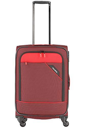 Travelite Rollkoffer 'Derby': klassisch, robuster und leichter Weichgepäck Trolley mit 4 Rollen in 4 Farben Koffer, 66 cm, 69 Liter, Rot