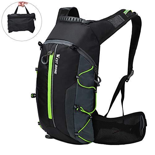 WESTGIRL Fahrradrucksack Wasserdicht, Faltbarer Fahrrad Tagesrucksack Trinkrucksack mit Gürteltasche, Atmungsaktives Leichtgewicht für Outdoor Sportarten Reisen Bergsteigen 10L