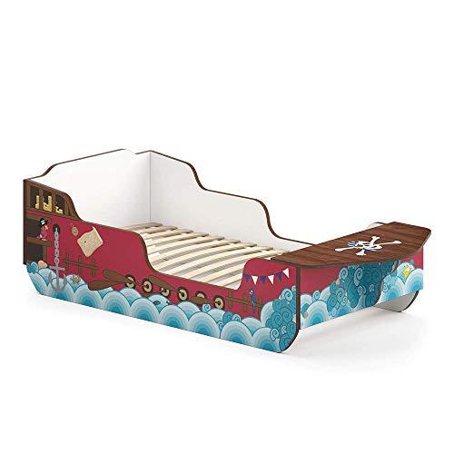 VitaliSpa Kinderbett Calypso 80x160 cm Piratenbett Rot Jungs Junior Bett Jugendbett