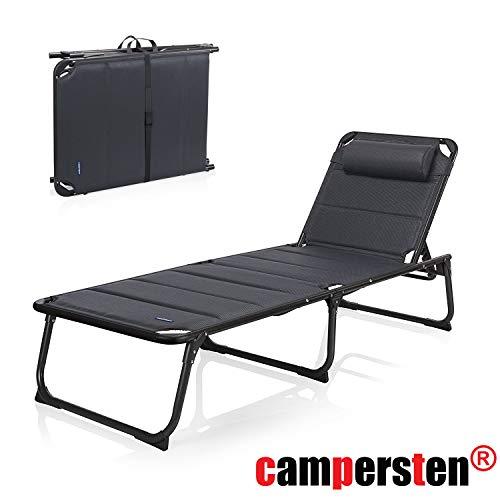 campersten gepolsterte Komfort Campingliege | 5-Positionen | faltbar | klappbar | leicht bei 120KG Tragkraft XXL