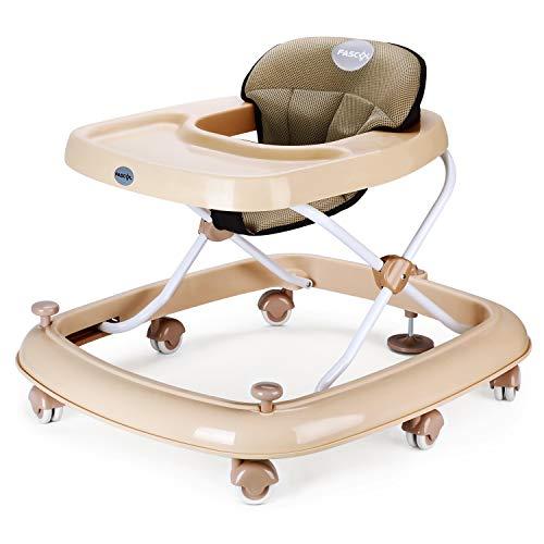 Fascol Lauflernhilfe Höhenverstellbar Gehfrei Klappbar Lauflernwagen mit Bremse Laufstuhl Babystuhl, Khaki