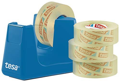 tesa Easy Cut Smart Tischabroller (Klebefilmabroller, mit Stop-Pad für sicheren Stand, mit 4 Rollen tesafilm transparent 33m:19mm) cyan blau