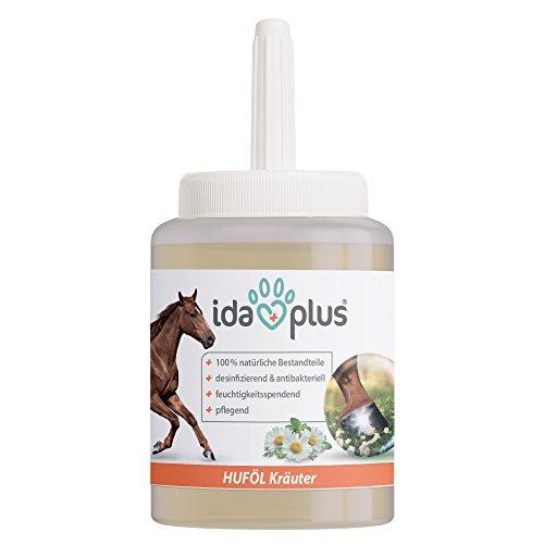 Ida Plus Kräuter Huföl mit Pinsel für Pferde (500 ml) - mit Lorbeeröl für Hufwachstum & Hufpflege, Hufpflegeöl für Starke Hufe & gesunden Strahl