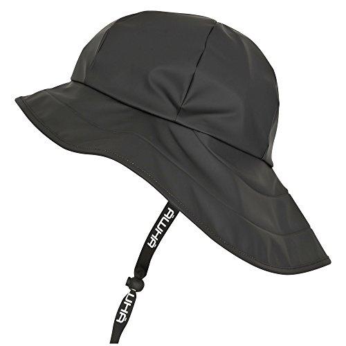 AWHA Südwester Regenhut schwarz/unisex - wasserdichte Mütze mit breiter Krempe und Ohrenklappen