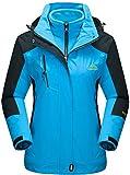 TACVASEN Hardshelljacken Damen Winter Wasserdicht Jacke Fleece Gefüttert Jacken Outdoor Wanderjacke Winddicht Skijacke Berg Jacke Blau Blue
