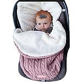 Unisex Baby Schlafsack Kinderwagen Winter warme Fußsack Neugeboren Babyschale mit Plüschfutter Gestricke Schlummersack