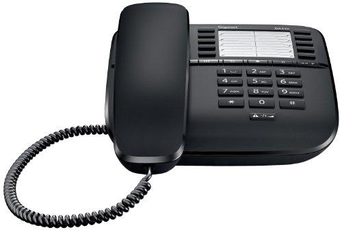 Gigaset DA510 Telefon - Schnurgebundes Telefon / Schnurtelefon mit Kurzwahl - Einfaches Telefon Freisprechen Stummschaltung - Mute / Analog Telefon - schwarz