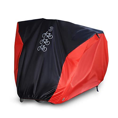 Fahrradabdeckung Fahrradgarage Fahrradschutzhülle 190T Schutz Cover Winterfest Staub Regen UV-Schutz für 3 Fahrräder