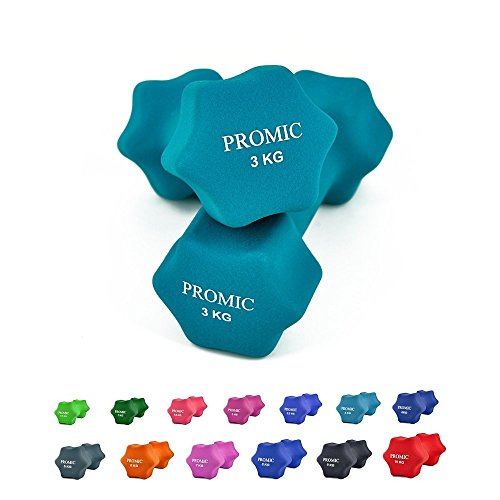 PROMIC  Neopren Hanteln Gewichte für Gymnastik Kurzhanteln- ideal für Aerobic & leichtes Fitnesstraining, 13 verschiedene Gewichte und Farben zur Auswahl (2er-Set), 2 x 3 kg, Hellblau
