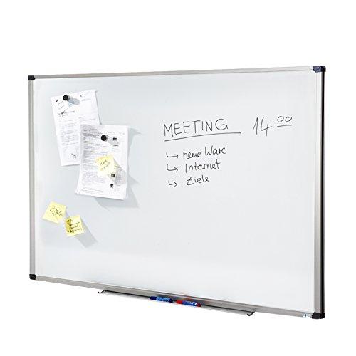 MOB Whiteboard Economy | Testnote 1,5 | schutzlackierte Magnettafel - im stabilen Alurahmen | als Magnetwand, Memoboard - 90x120cm