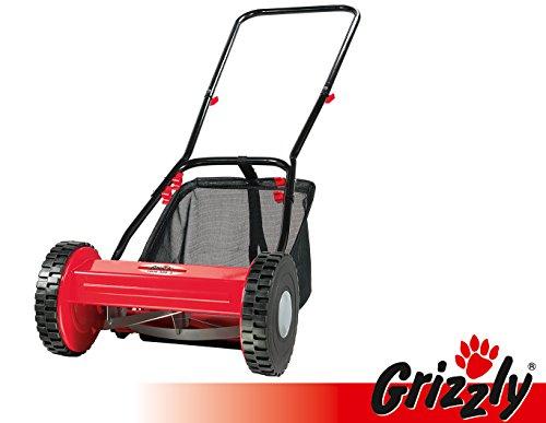 Grizzly Hand Rasenmäher Spindelmäher HRM 300-3 mit Fangsack, 30 cm Schnittbreite, umweltschonend, geräuscharm, inkl. Kinderrasenmäher