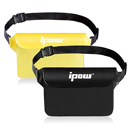 ipow 2 Pack Wasserdichte Tasche Beutel Hülle Unterwassertasche Bauchtasche vollkommen für iPhone, Handy, Kamera, iPad, Bargeld, Dokumente vor Wasser schützen (schwarz+ lichtdurchlässige gelb)