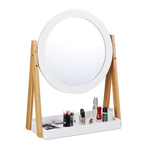 Relaxdays Kosmetikspiegel, schwenkbar, mit Ablage für Make Up, Kosmetik, Tischspiegel ∅ 32,5 cm, Bambus, MDF, weiß-Natur