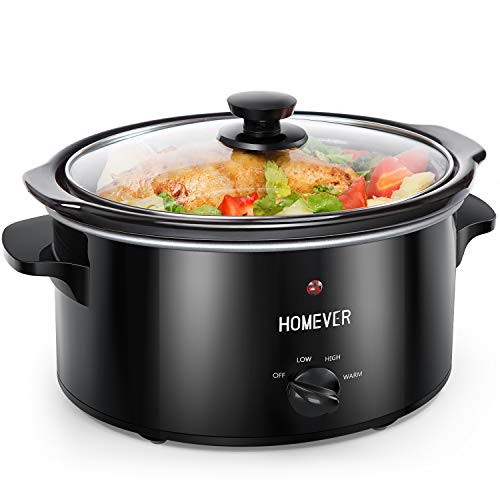 Schongarer, Homever Slow Cooker langsamer Kocher,3,5-Quart manueller Schmor-Kochtopf Multi-Kocher mit Herausnehmbarem Keramikkochtopf,3 Einstellbare Temperatureinstellungen (Hoch/Niedrig/Warm)