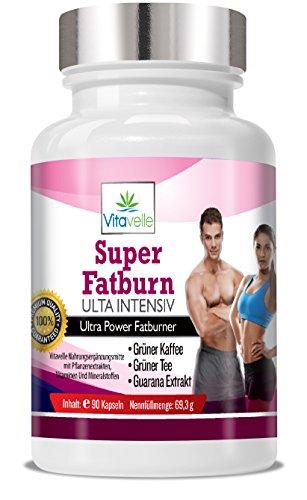 Super Fatburner Ultra Intensiv - Diätpillen - Abnehmpillen - Zur Gewichtsreduktion - Green Coffee Fatburner + Grüner Tee + Guarana