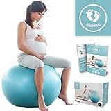 BABYGO Gymnastikball Schwangerschaft Fitness Yoga Core Geburt Ball Sitzball mit Anti-Burst-System 500 KG inkl. Luft-Pumpe + GRATIS Übungsanleitung mit 30 Übungen für alle Trimester 65cm