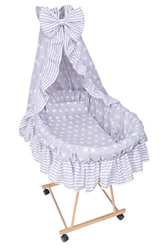 Amilian 9tlg Textile Ausstattung für STUBENWAGEN Bollerwagen Himmel Matratze Baby Bettwäsche Pünktchen Grau