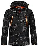 Geographical Norway Herren Softshell Outdoor Jacke Tambour/Taco/Techno abnehmbare Kapuze Black/orange XL