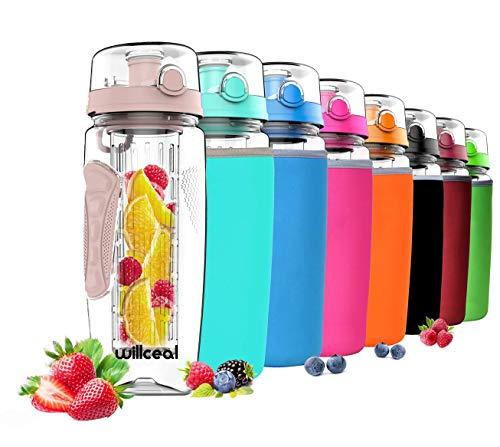 willceal Wasserflasche mit Fruchteinsatz 945 ml - Hochwertig und beständig - Groß, BPA-frei, aus Tritan - Aufklappbarer Deckel mit Tragegriff - Auslaufsicheres Design