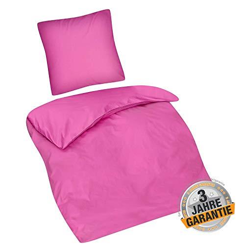 Aminata Kids Bettwäsche Einfarbig 135 x 200 cm + 80 x 80 cm aus Baumwolle mit Reißverschluss, schöne Jugendbettwäsche mit Uni-Motiv in rosa pink ist weich und kuschelig