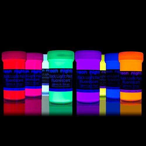 neon nights Fluoreszierende Schwarzlicht Farben für Kunst und Wohnraum | Leuchtfarben mit Glow-Effekt unter UV-Licht | 8 x 20ml Neon-Farben