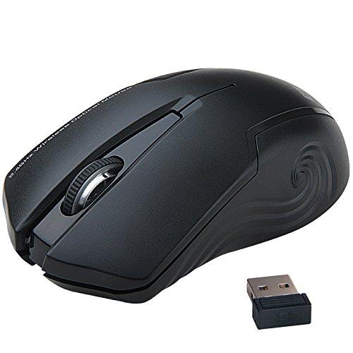 Uping geräuschlose stumm ergonomische kabellose optische laser Maus mit Nano USB schnurlose Empänger kompatibel zu PC Mac Computer Notebook and Laptop 2.4 GHz 3 Justierbare CPI Level, 1600 CPI, 3 Tasten, 18-Monate Batterielaufzeit Schwarz