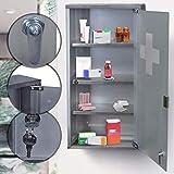 Medizinschrank Abschließbar | XL (60x30x12cm) mit 4 Fächer und Satiniertes Glastür, aus Edelstahl | Apothekerschrank, Hausapotheke, Medikamentenschrank