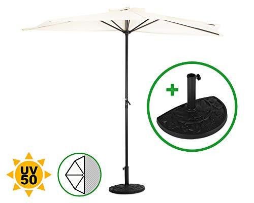Ondis24 Wandschirm 270x140cm, inklusive Schirmständer, UV 50, Polyester Stoff, Sonnenschirm halbrund mit Kurbel (Beige)