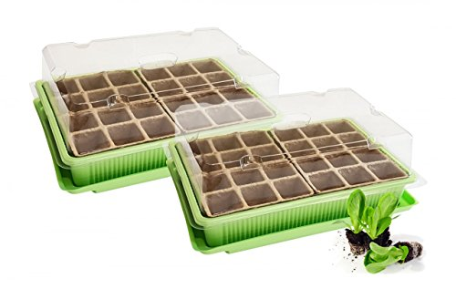 2x Mini Gewächshaus - für bis zu 48 Pflanzen, ca. 27 x 19 x 10 cm (LxBxH) je Zimmergewächshaus, grün / transparent, Kunststoff / Zellulose