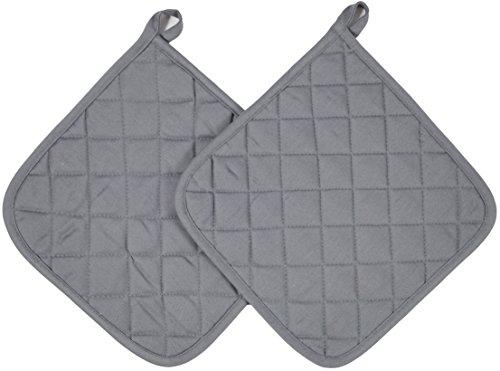 Zollner 2er Set Topflappen Untersetzer aus Baumwolle, ca. 24x24 cm, Grau (Weitere verfügbar), Serie Paolo