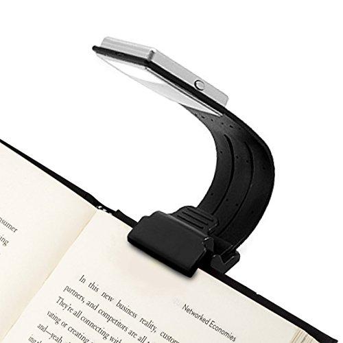 Leselampe -4 einstellbare Helligkeit zu entwerfen - Lampe mit Klammer kleine Buchlampe Leselicht flexibel Buch Lesen- Led Leselampe für Kindle- Akku der Leuchte wiederaufladbar über USB,schwarz