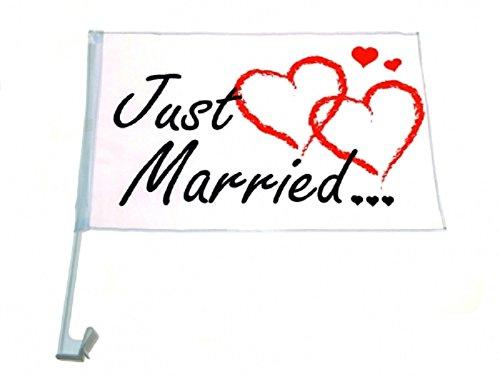 12 x Autofahnen Autofahne Just Married 46 x 30 cm Hochzeit Love Auto Fahne