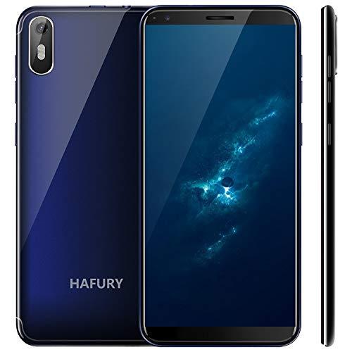 Hafury A7 (2019) Android 9.0 Dual SIM Smartphone ohne Vertrag, 5.5' (18:9) Touch Display, 2GB Ram+16GB interner Speicher, Quad-Core, 8MP Hauptkamera / 5MP Frontkamera und Face-Unlock Funktion,Blau ...