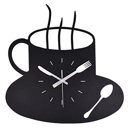 IVNZEI DIY 3D Wanduhr Matel Kaffeetasse Uhr, Moderne Küchenwanduhr schwarz stille Nicht tickt (Size : 16inches)