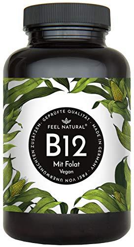 Vitamin B12-180 Tabletten (6 Monate). 1000µg mit bio-aktivem Methyl- und Adenosylcobalamin + Depotform (Hydroxocobalamin) und Folat als Vitamin B9. Laborgeprüft, vegan, hergestellt in Deutschland
