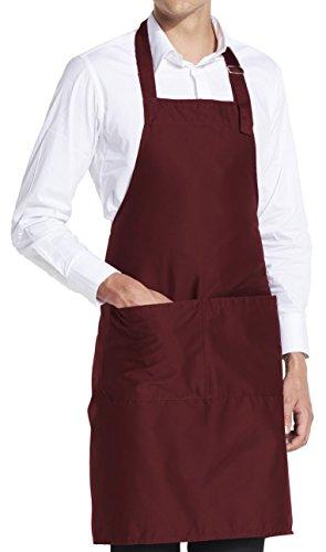 vanVerden Grillschürze Kochschürze Küchenschürze Herren Damen 5 Farben Geschenk inkl. Geschenkkarte, Color:Bugundy (Wein)