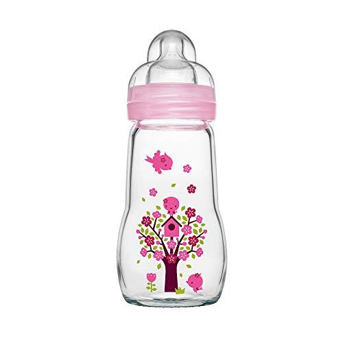MAM Feel Good Babyflasche aus Glas (260 ml) – rosa Babyflasche mit weiter Öffnung – stabile Baby Trinkflasche mit Sauger Gr. 1, ab der Geburt, Naturmotive, rosa