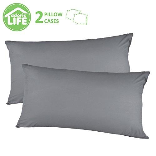 Kissenbezug kissenhülle Kopfkissenbezug Bettkissenbezug Pillowcase, Adoric  [2er Set] Kissenbezug 100% Mikrofaser, 40 cm x80 cm.(Grau)
