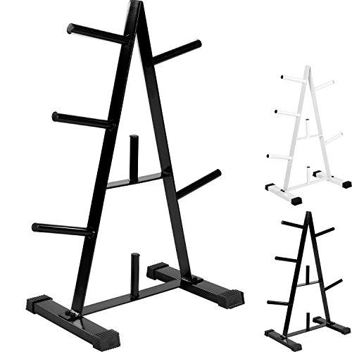 MOVIT Hantelscheibenständer, Farbwahl: schwarz oder weiß, bis 250 kg belastbar, 7 Stangen
