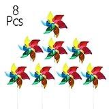 Modou 8X Windmühle Windrad Windspiel für Garten & Kinder Gartenstecker im Regenbogen Design,UV-beständig und wetterfestals Garten-Deko, Party-Artikel & Vogelschreck