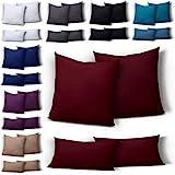 one-home 2er Set Mikrofaser Kissenbezug Kissenhülle Kopfkissen Hülle Uni, Maße:40 x 80 cm, Farbe:Bordeaux/Rot