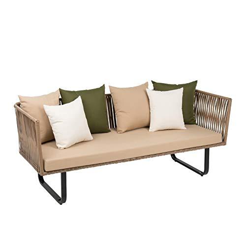ESTEXO Poly-Rattan Sofa Couch Bank Indoor & Outdoor Sitzgruppe Lounge Retro Garten-Möbel 3-Sitzer Beige