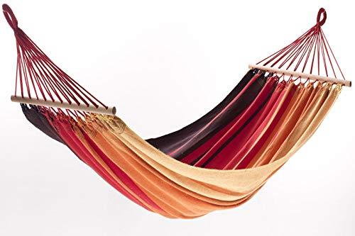 Jobek Orinocco Stabhängematte, Streifen Xingu rot, recycelte Baumwolle, 200 x 125 cm mit Stab für Outdoor und Garten