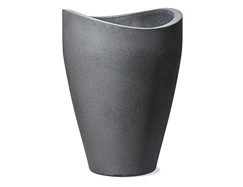 Scheurich Wave Globe High, Hochgefäß aus Kunststoff, Schwarz-Granit, 29,8 cm Durchmesser, 40 cm hoch, 6 l Vol.