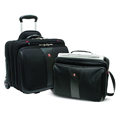 Wenger 600662 PATRIOT 17' 2-teiliges Business Wheeled Laptop Aktentasche, gepolsterte Laptopfach mit passenden 15,4-Zoll-Laptop-Tasche in schwarz {25 Liter}